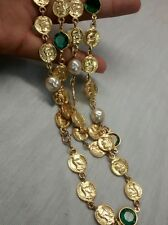 Statement vintage  green crystal bezels faux coins pearls gold tone necklace