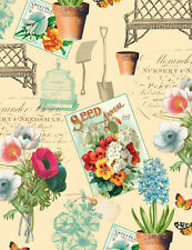 ANTIQUE SEEDS VINTAGE STYLE GARDENING SEED PACKETS FABRIC