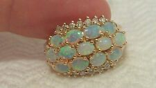 Stanning Vintage 14k Yellow Gold Natural Diamond/Opal Ring