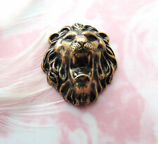 ANTIQUE BRASS Roaring Lion Stamping - Jewelry Findings (CA-3024) `