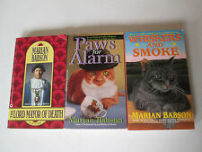 MARIAN BABSON LOT OF 3 PAPERBACKS Paws for Alarm Whiskers and Smoke Mysteries PB