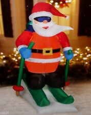 CHRISTMAS DECOR OUTDOOR WEATHER PROOF ANIMATED SKIING SANTA CLAUS 6' INFLATABLE