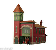 Building FIRE STATION HO Scale 1/87 Railway Train Model Kit Cardboard .
