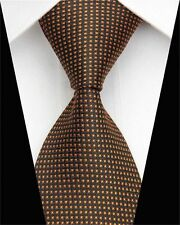 GIFTS FOR MEN Skinny Retro Mens Check Patterned Silk Necktie Tie Black Orange