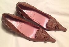 $699 MIU MIU BY PRADA Women Leather Pumps Kitten Heels Size 8M (US) 38 (EUR)