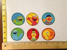 6 pc set Sesame Street Circles Fabric Applique Iron On Ons
