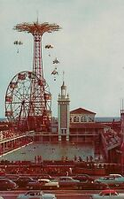 Swmming Pool Parachute Jump and Ferris Wheel at Coney Island NY Postcard