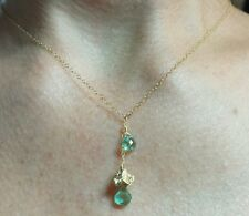 Solid 14k flower  .8ct heart cut genuine Apatite gemstone necklace pendant