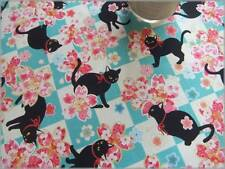 Cotton  Black Cat with Pink Flower Patterns 110 x 50 cm - Japanese Fabric