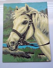 """HORSE VTG PAINT BY NUMBER Artwork  W Bridle 9"""" X 11 1/2"""" Bright Colors"""