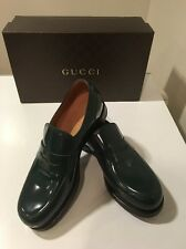 New Gucci Shade Lux  Verde Patent Leather Penny Loafer Shoes UK Sz 9 /US 10 ����