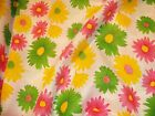 1 METRE OF PINK/GREEN/ YELLOW DAISY FLOWER 100% COTTON FABRIC