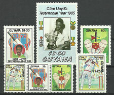 GUYANA 1985 CRICKET CLIVE LLOYD West Indian Captain Set of 7 values MNH