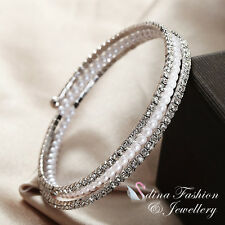 18K White Gold Plated CZ Stunning 3 Rows Stretch Elastic Pearl Bangle Bracelet