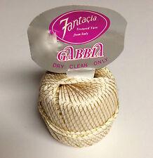 Fantacia Gabbia Textured Ribbon Yarn Knitting Crochet Thread Neutral and Gold
