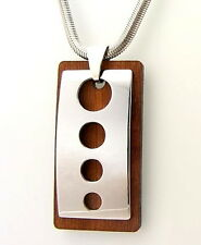 Men's Tungsten Carbide and Rosewood Necklace With Snake Chain