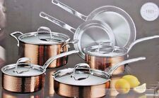 Lagostina Martellata Hammered Stainless Steel Copper Tri-Ply 10 Pc Cookware Set