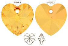 2 SWAROVSKI CRYSTAL GLASS HEART PENDANTS 6228, METALLIC SUNSHINE YELLOW, 10 MM