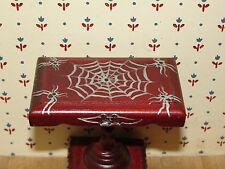 Dollhouse Halloween hand painted spider web table signed artist 1:12