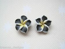 *CLAY PLUM FLOWER* Black Yellow White SP STUD Earrings Rockabilly Gift Bag