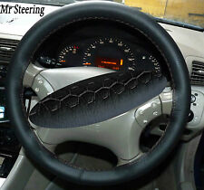 FITS MERCEDES C CLASS W203 BLACK LEATHER STEERING WHEEL COVER GREY STITCH 01-07