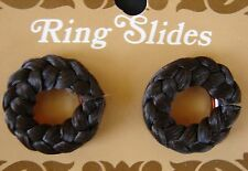 "Vintage Hair Barrettes - ""Ring Slide"" Choc Brown Round nylon braid barettes"