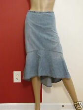 RALPH LAUREN JEAN CO BLUE MIDCALF HIGH LOW MODEST DENIM SKIRT SZ 14