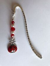 BOOKMARK Tibetan Silver With Cute LADY BIRD enamel Charm Present In Gift Bag
