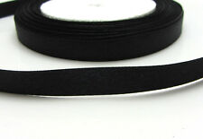 "Free shipping 3/8"" 25Yards Solid color Satin Ribbon  For Wedding Party Black"
