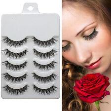 Beauty Makeup Handmade Natural Fashion Long False Eyelashes Eye Lashes 5 Pairs~