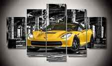Frame Picture Canvas Prints Yellow 2016 Chevrolet Corvette Stingray Super Cars
