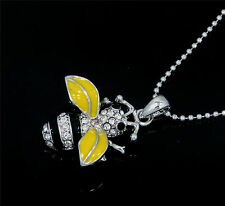 New Stunning  Silvertone Queen Bee Crystal Pendant  Necklace Yellow Gift Boxed