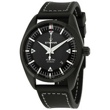 Eterna Kontiki Date Automatic Black Dial Black Leather Mens Watch