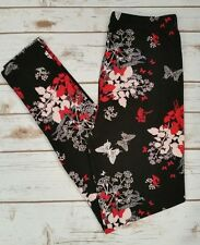 PLUS Size Butterfly Floral Print Leggings Red Black Pink Curvy Plus