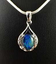 Genuine Triplet Opal Necklace Pendant with Cubic Zirconias 18ct White Gold Plate