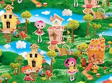 LALALOOPSY CUTE AS A BUTTON DOLLS SCENIC FABRIC