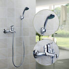Chrome Wall Mounted Bathroom Bathtub Shower Faucet Set Mixer + Hand Sprayer