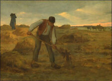 """Large Oil painting Jean-Francois Millet Peasant spreading manure canvas 36"""""""