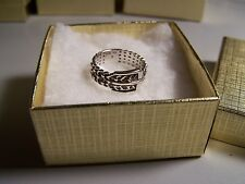 VINTAGE WOMEN'S SOLID STERLING SILVER CLASSIC BELT BUCKLE BAND SIZE 5 SIGNED