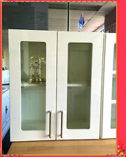 Flat Pack Kitchens High Gloss White Kitchen Wall Glass Cabinet 2 Doors 600