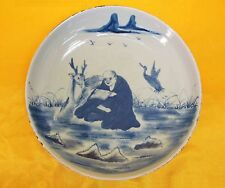 A Chinese Imperial Blue Porcelain Round Plate,Long Life Gold With Elk Pattern