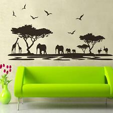 African Safari Themed Wall Sticker Jungle Animal Tree Mural Living Room Decor