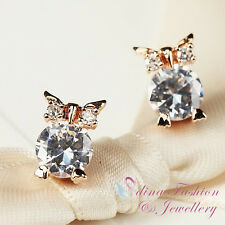 18Ct Rose Gold Plated Simulated Diamonds Lovely Owl Stud Earrings Jewellery