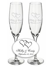 Wedding Champagne Toasting Flutes 1 Pair- Custom w/ Names & Interlocking Hearts