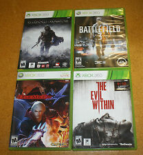 XBOX 360 4 GAME LOT EVIL WITHIN DMC 4 BATTLEFIELD 3 SHADOW MORDOR FREE SHIPPING