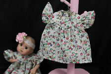 """GOING OUT OF BUSINESS SALE---DRESS FOR 5-1/2""""--6"""" OOAK DOLL BEIGE WITH FLOWERS"""