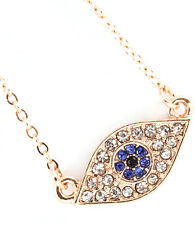 Dainty Gold Plated Dk Sapphire Blue Crystal Evil Eye Charm Pendant Necklace