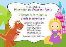 30 Dinosaur Princess Invitation Cards Kids Birthday Party Invites Personalized