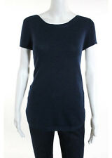 JAEGER Dark Blue Wool Short Sleeve Boat Neck Knit Top Sz M