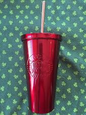 2014 Starbucks Coffee RED Stainless Steel 16oz Cold W Straw Tumbler Cup Mug NEW